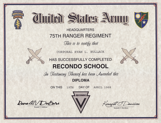 army recondo school certificate