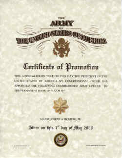 Army promotion certificates for Officer promotion certificate template