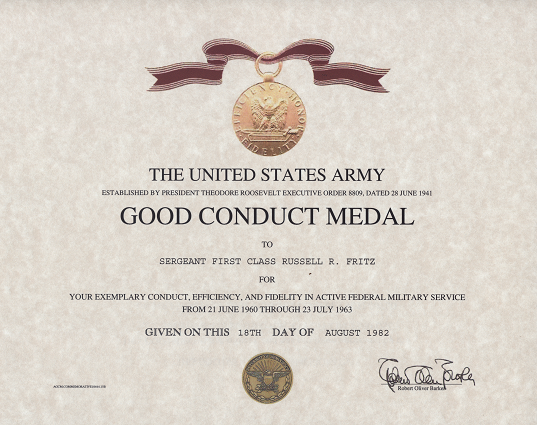 army good conduct medal certificate